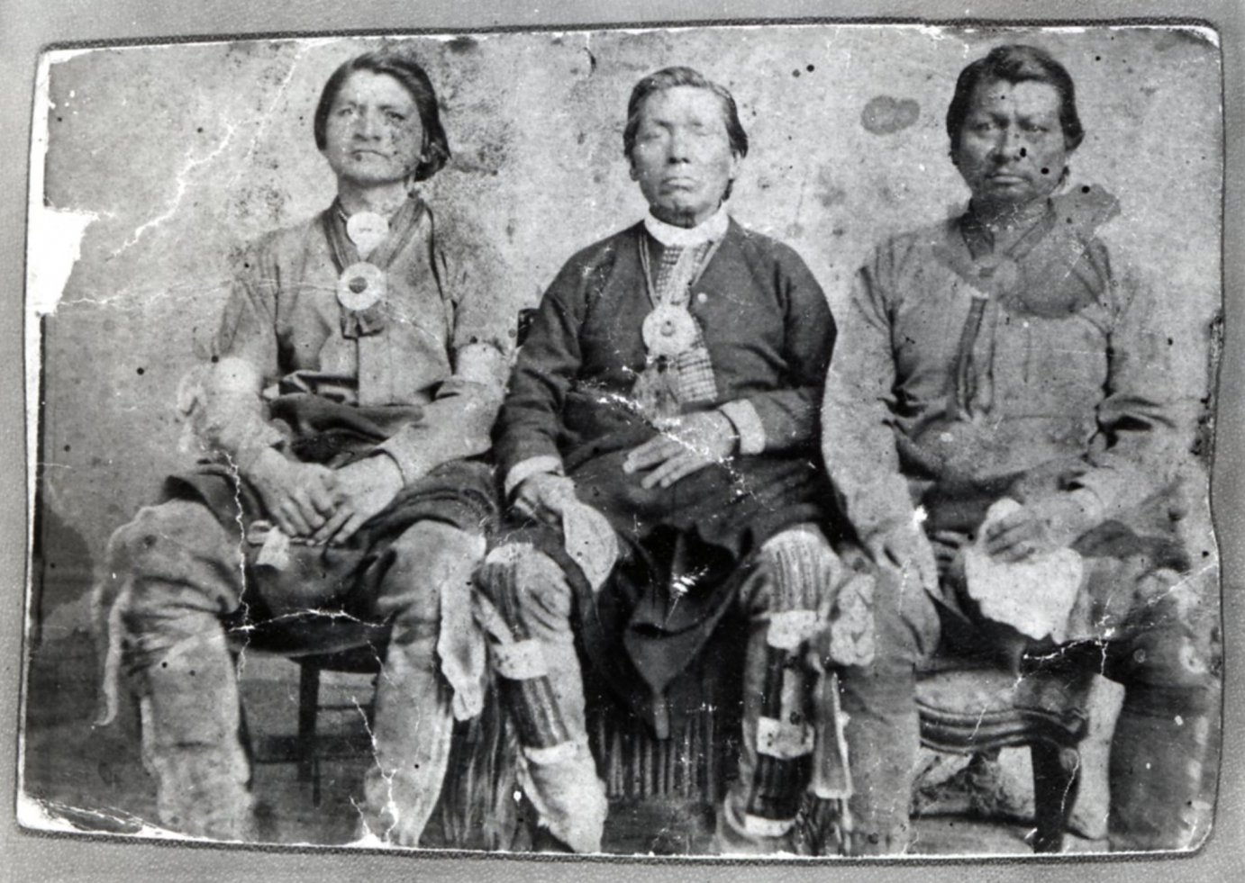 Sac and Fox Chiefs Sac-a-Pee, Mo-Less, and Big Bear (Wah-Pal-E-Cah), late 1860s, courtesy of Franklin County Historical Society