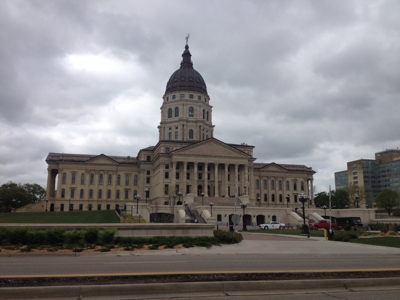 Dark clouds gather above the Kansas Statehouse in Topeka. (Photo by J. Schafer)