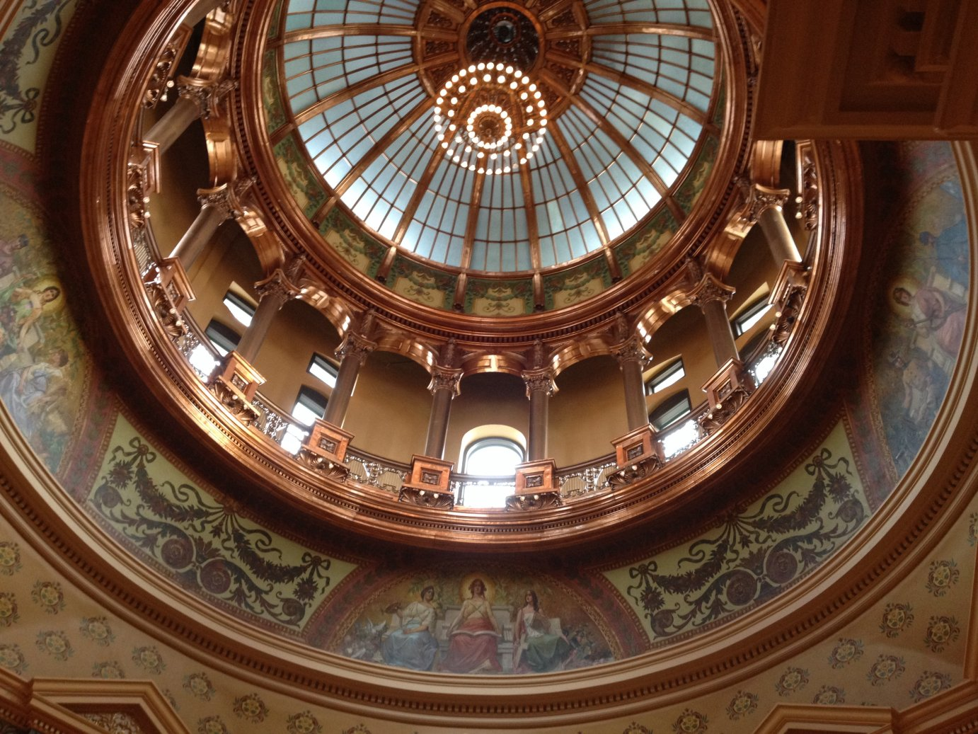 Inside the Kansas Statehouse rotunda, looking up inside the inner dome. (Photo by J. Schafer)