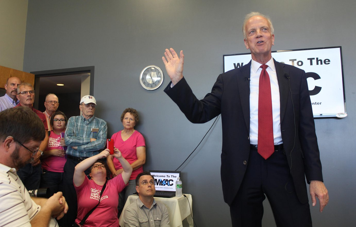 Senator Jerry Moran speaking a meeting in Palco. (Photo from the Kansas News Service)