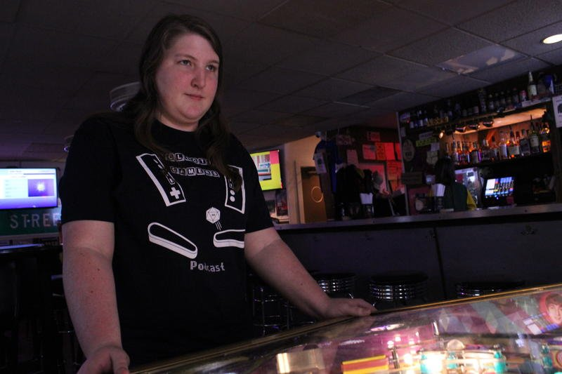 Keri Wing is the reigning Kansas pinball champion. She also recently won the women's world championship. (Image credit: Kyle Palmer/KCUR)