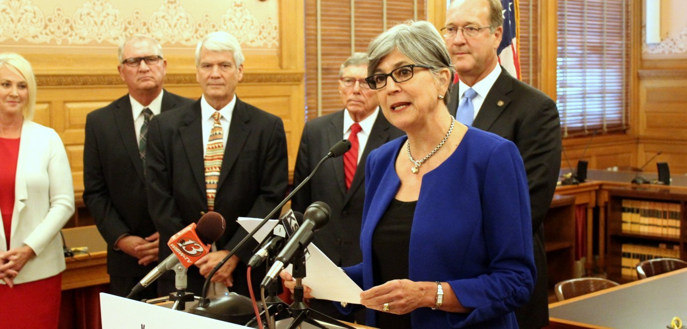 Senate President Susan Wagle outlines a series of policy proposals aimed at winning seats for Republicans in the election. She is joined by other Republican senators and candidates for the chamber. (Photo by Stephen Koranda)