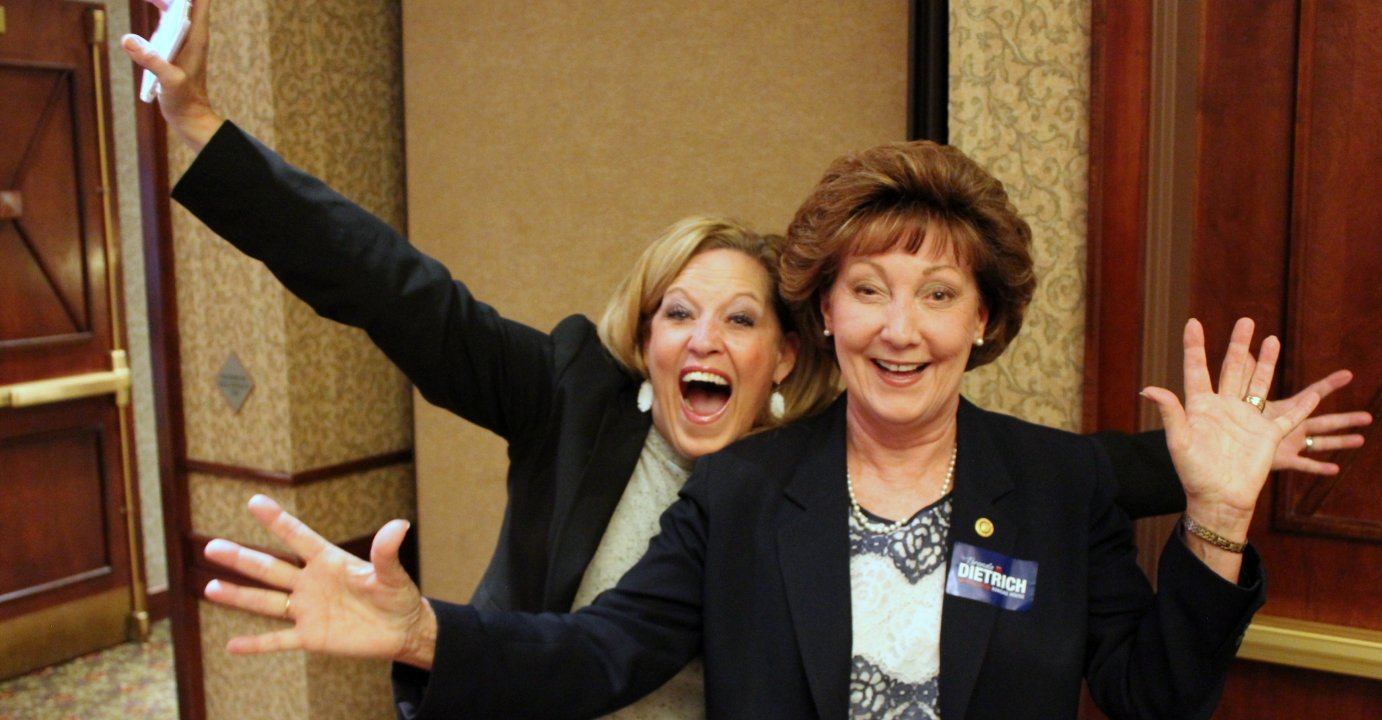 Republican Senator Vicki Schmidt (left) and Republican Representative-elect Brenda Dietrich celebrate their victories at a party in Topeka. (Photo by Stephen Koranda)