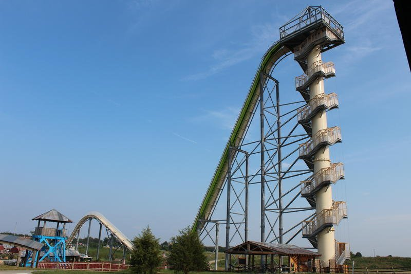 The Schlitterbahn water park in Wyandotte County is undergoing a state safety audit before its schedule spring re-opening. A 10-year-old boy died on the Verruckt waterslide in 2016. (file photo courtesy of KCUR)