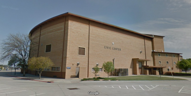 The Ford County Clerk moved Dodge City's only polling place from the Civic Center (pictured) to a site outside of town. (photo credit: Google Street View, via KCUR and the Kansas News Service)