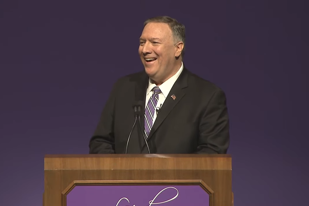 Mike Pompeo standing at Kansas State University podium