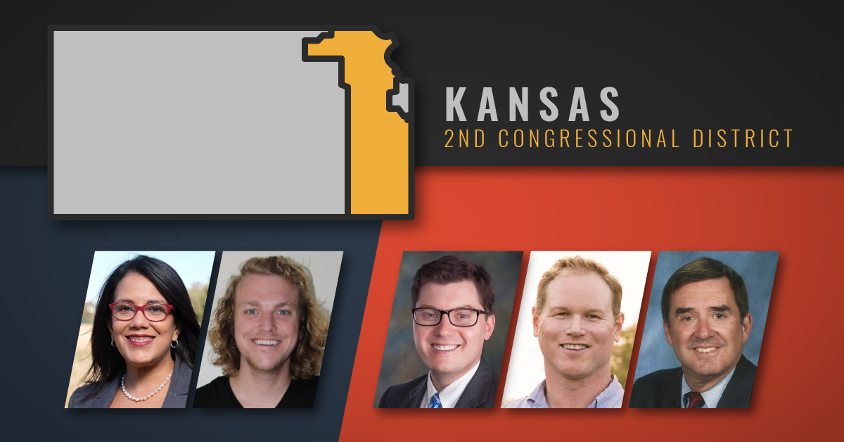 From left to right: Democrats Michelle De La Isla and James Windholz; Republicans Jake LaTurner, Steve Watkins and Dennis Taylor. (Illustration by Crysta Henthorne, KCUR)
