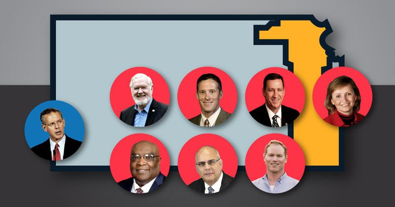 Democrat Paul Davis awaits the winner among seven GOP primary contenders: (top row, left to right) Steve Fitzgerald, Kevin Jones, Dennis Pyle, Caryn Tyson, (bottom row) Vernon Fields, Doug Mays, and Steve Watkins.  (Image by Crysta Henthorne / Kansas News Service)