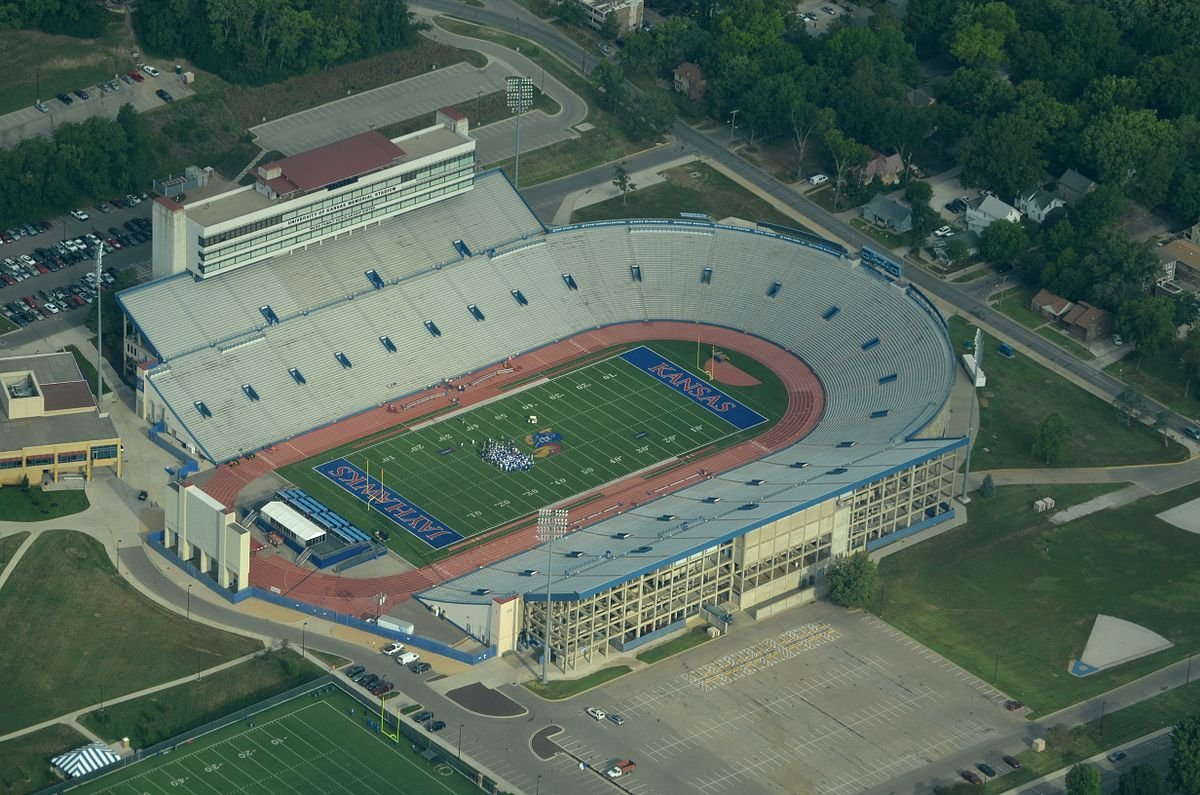 Memorial Stadium at the University of Kansas, where the Jayhawk football program has been struggling for years to compete with other Division I schools.