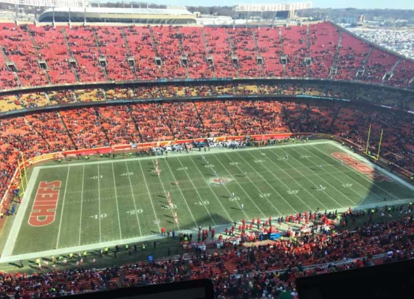 There were plenty of empty seats at Arrowhead Stadium for the Chiefs-Titans game on December 18 when temperatures were in the single digits. (Photo: Greg Echlin)