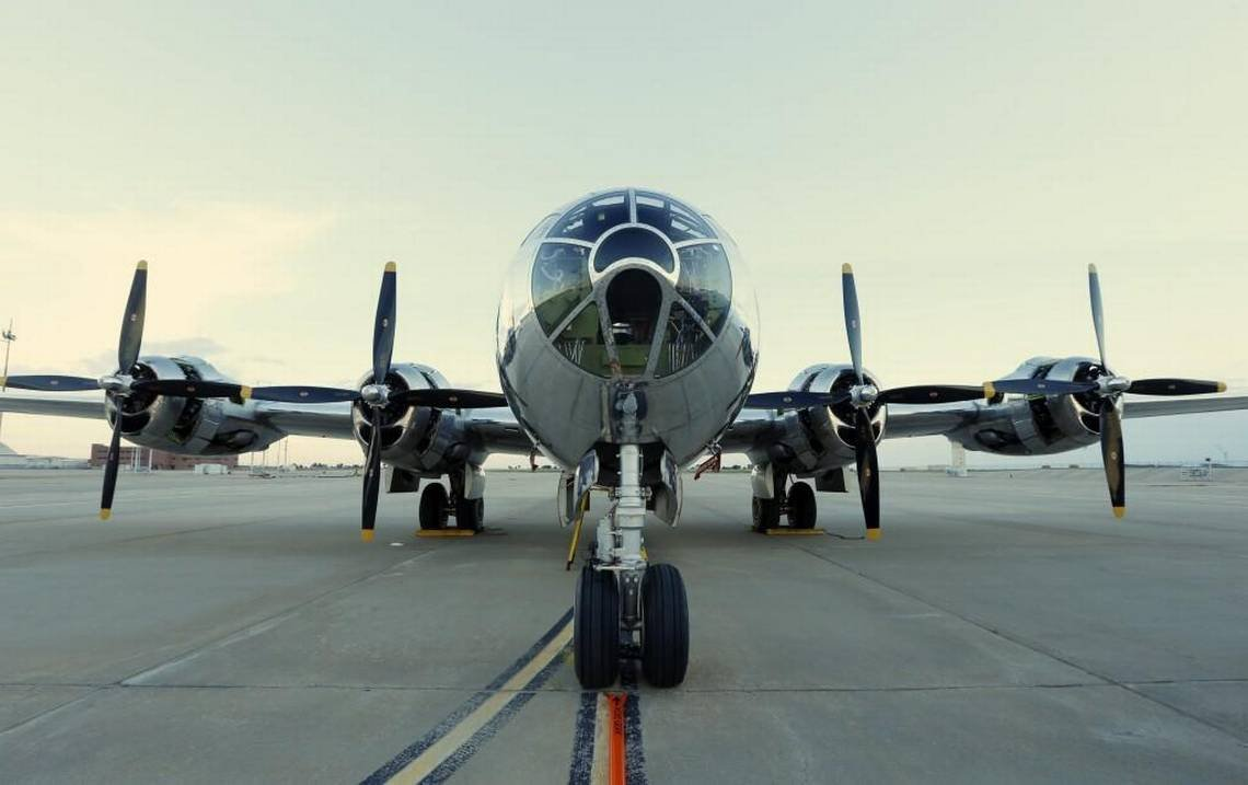 "This B-29 Superfortress, known as ""Doc,"" has been restored by volunteers in Wichita. (Photo from Wichita Eagle)"