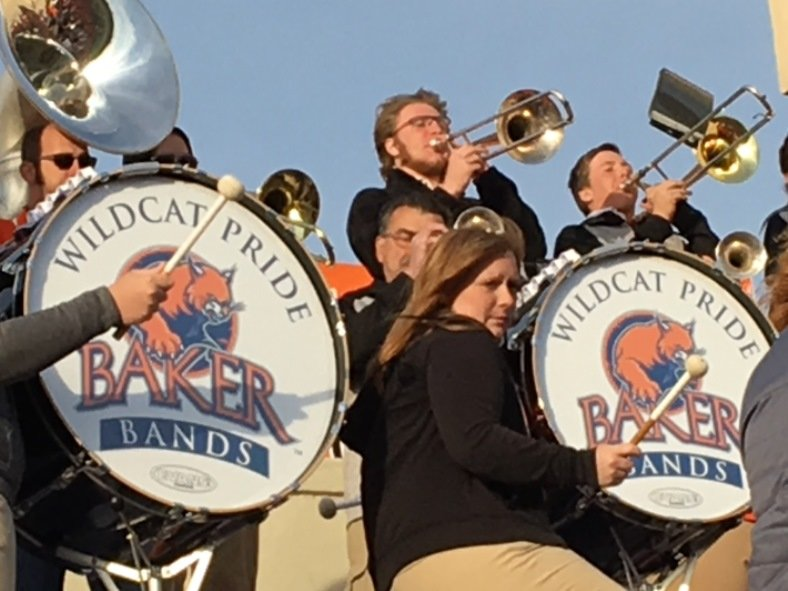 Baker University band playing at a football game. Baker will host Eastern Oregon in its semifinal game on Saturday afternoon. (Photo by Greg Echlin)