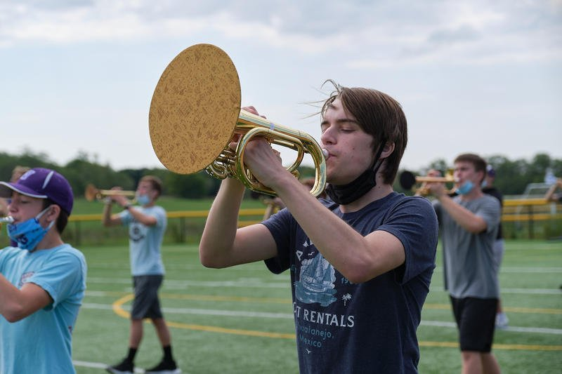 A student's mellophone horn is covered to prevent the spread of airborne respiratory droplets at Valley Center High School band camp. (Photo by Brian Grimmett, Kansas News Service)