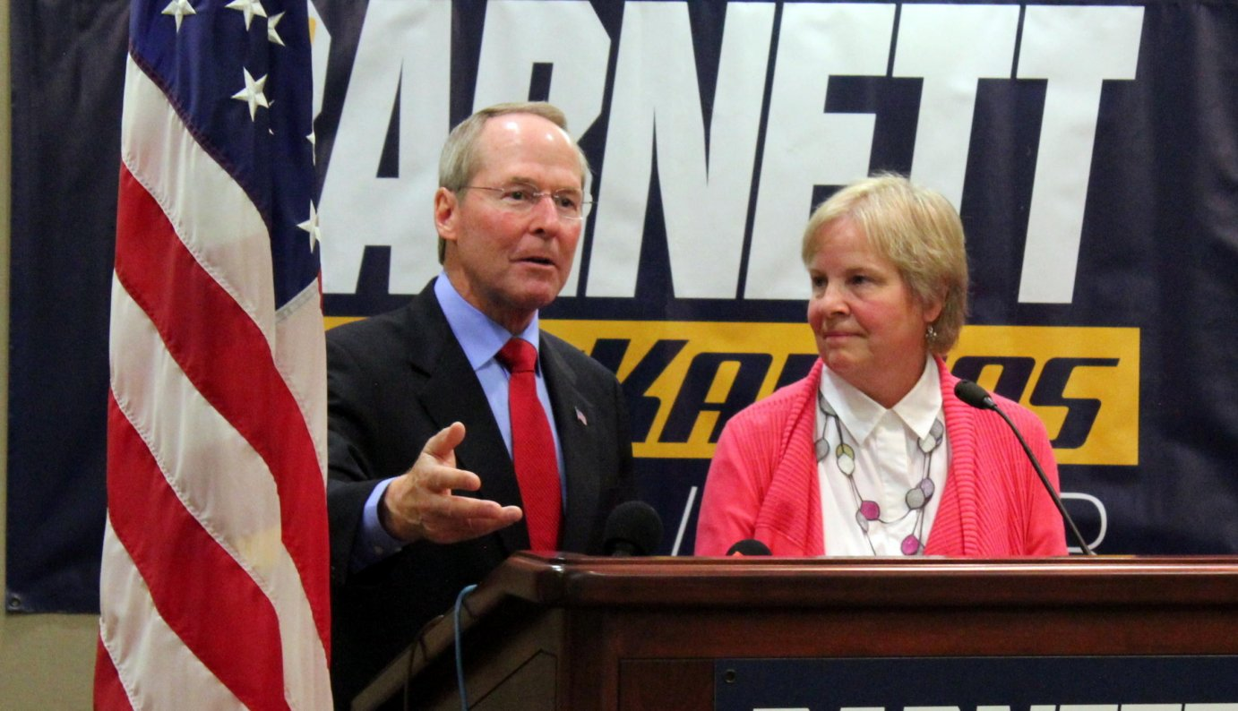 Jim Barnett, an Emporia physician and former state lawmaker, named his wife, Rosemary Hansen, as his choice for lieutenant governor. (Photo by Stephen Koranda)