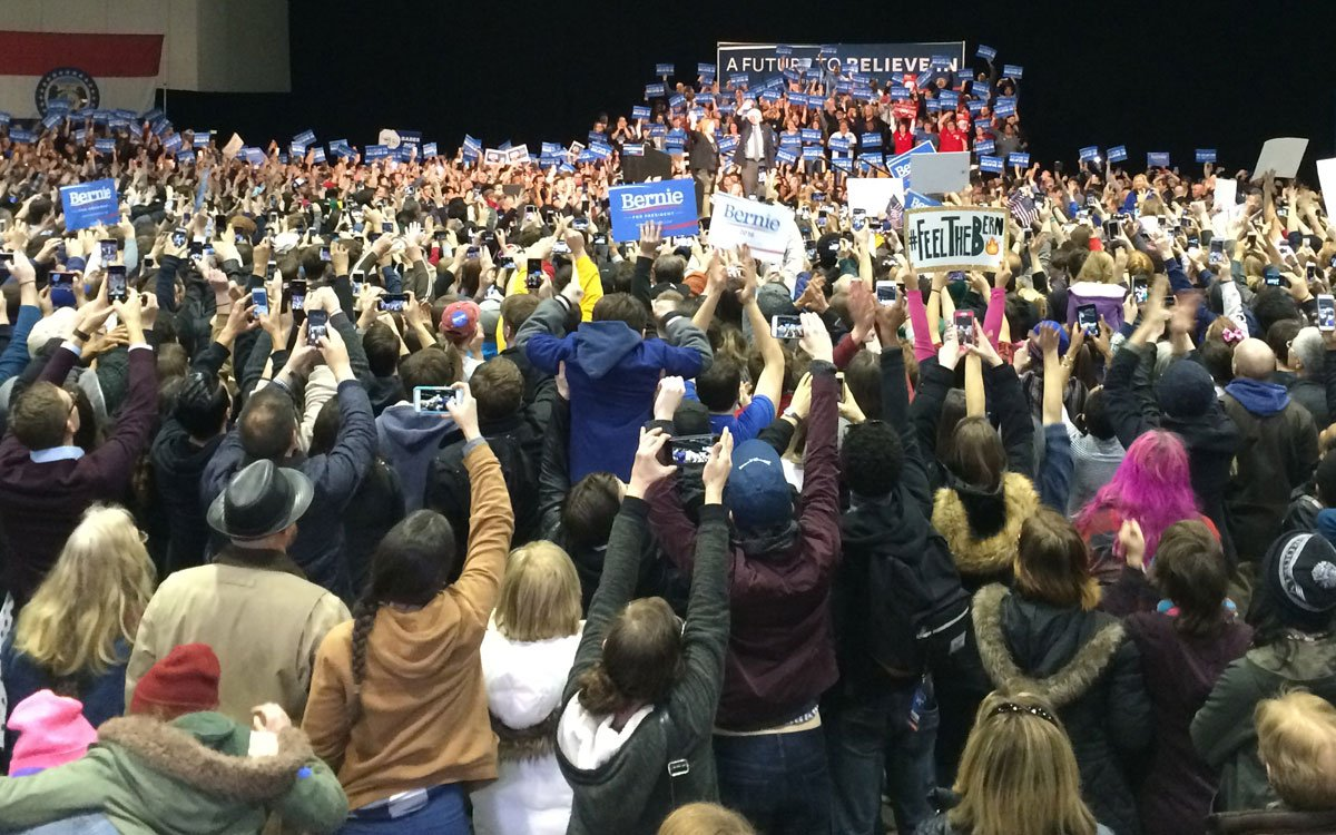 Thousands of people welcome Vermont Senator Bernie Sanders to Bartle Hall in Kansas City. (Photo by Austin Fitts/KPR News Intern)