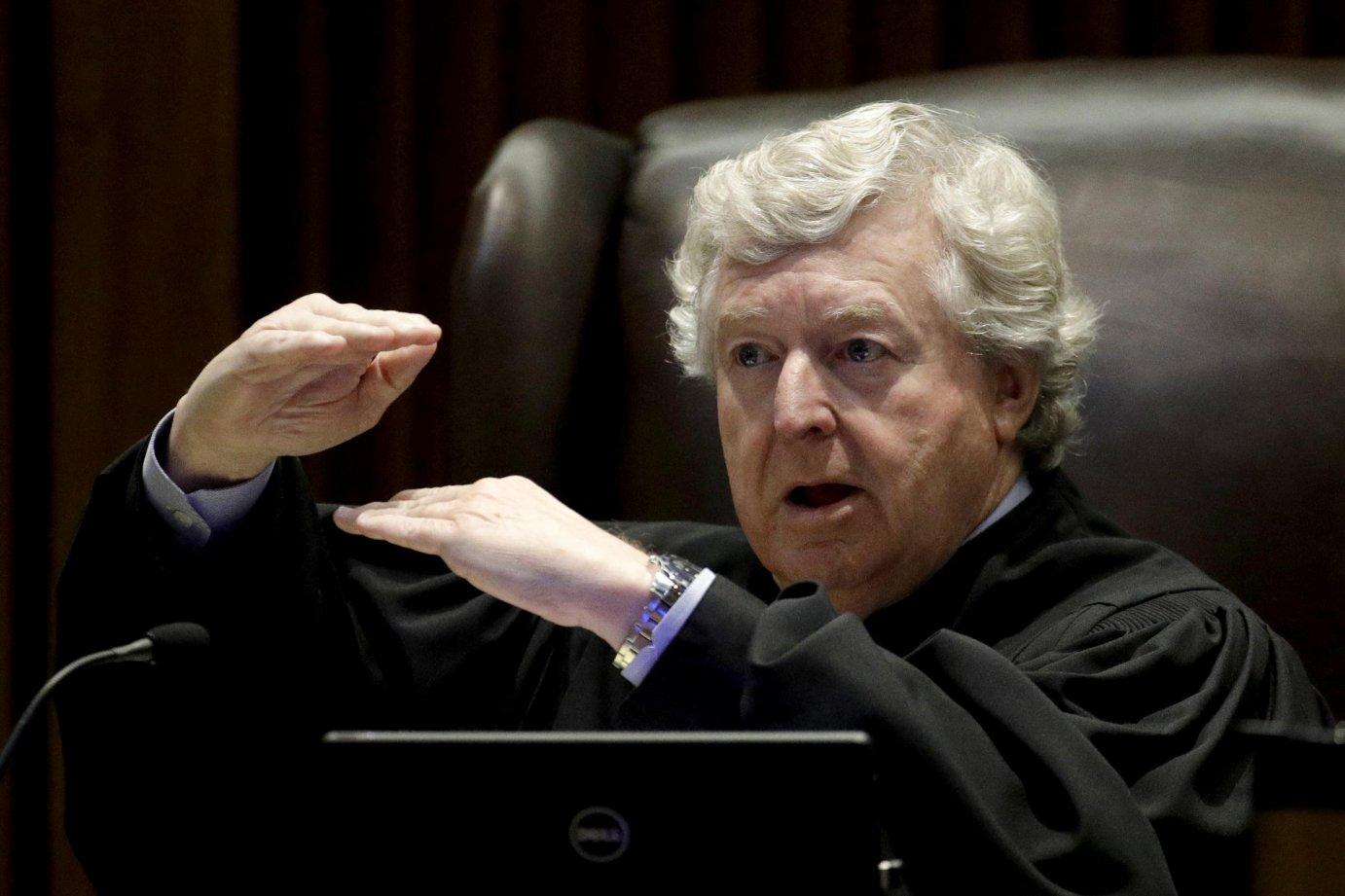 Kansas Supreme Court Justice Dan Biles asked how much would be enough for the state to demonstrate it has complied with a string of court orders to make school funding adequate. (Charlie Riedel, Associated Press)
