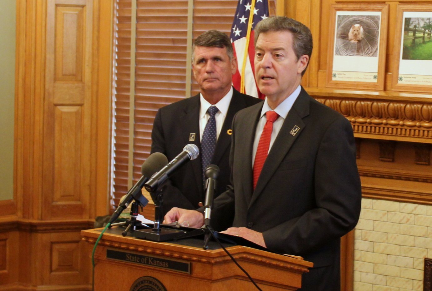 Governor Sam Brownback speaking at an event last month. (Photo by Stephen Koranda)