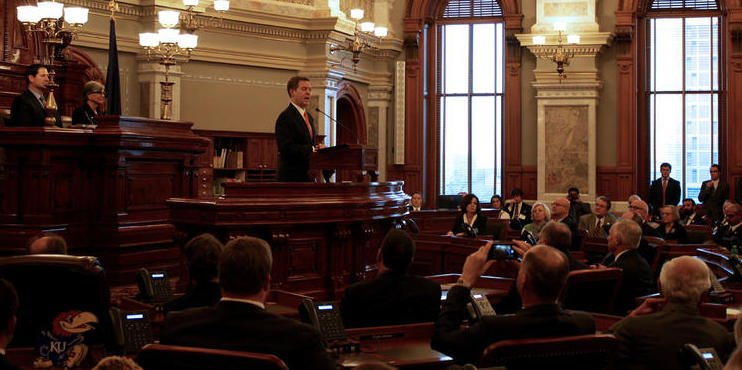 Governor Sam Brownback during the speech Tuesday. (Photo by Andy Marso)
