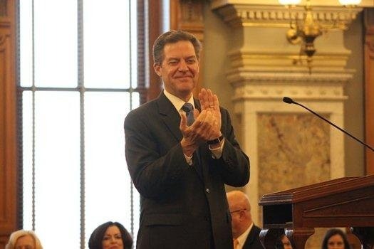 Governor Brownback at the State of the State speech. (Photo by Celia Llopis-Jepsen)