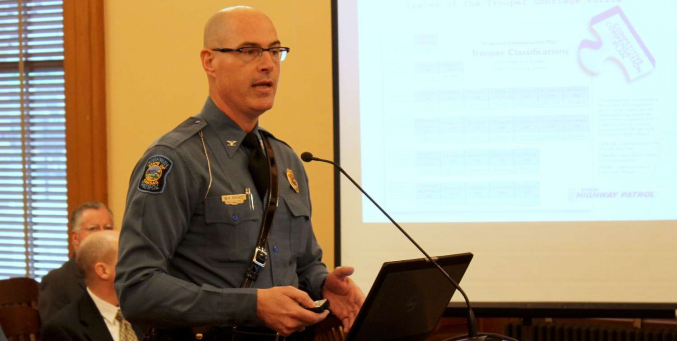 Highway Patrol Superintendent Colonel Mark Bruce explains the importance of adding more troopers. (Photo by Stephen Koranda)