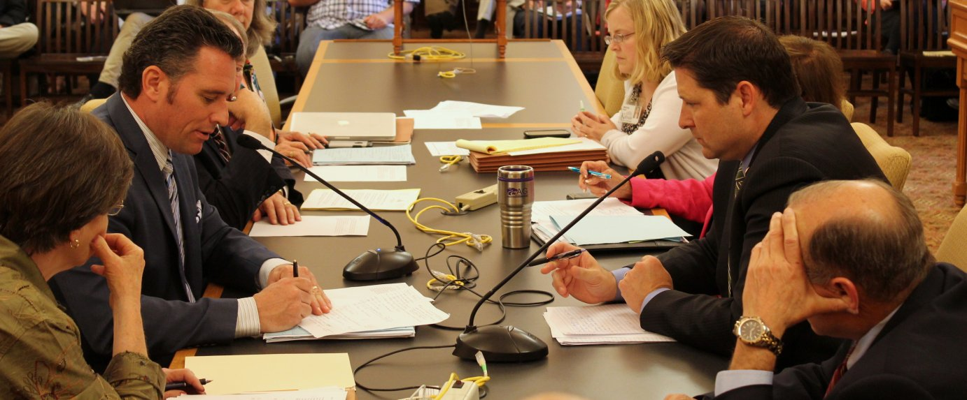 Budget negotiators meeting at the Statehouse earlier this year. (Photo by Stephen Koranda)