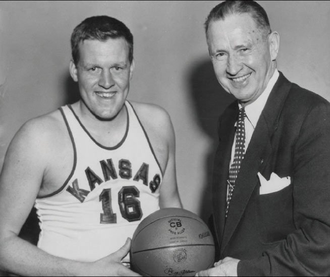 Kansas basketball champion Clyde Lovellette with KU Coach Phog Allen