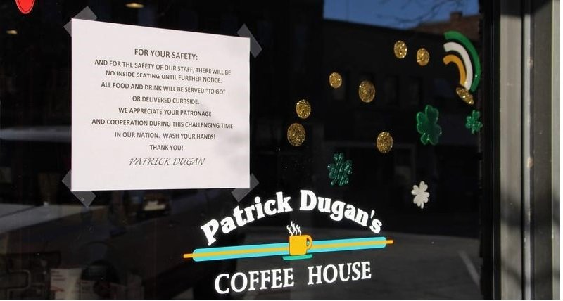 Patrick Dugan's Coffee House in Garden City is no longer allowing public seating and instead is offering curbside services as businesses grapple to prevent the spread of COVID-19. (Photo by Corinne Boyer, Kansas News Service)