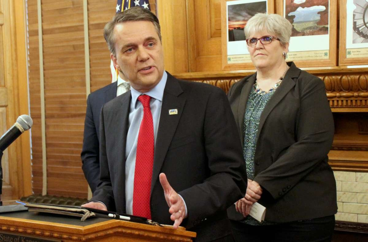 Governor Colyer speaking Thursday. (Photo by Stephen Koranda)