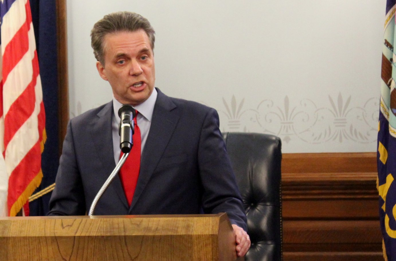 Jeff Colyer speaking last year. (Photo by Stephen Koranda)