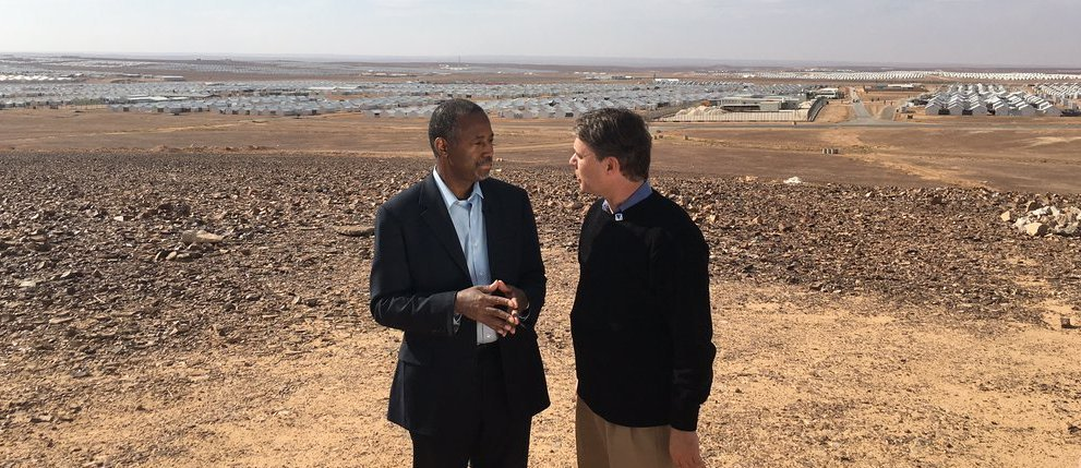 Kansas Lt. Gov. Colyer speaking with presidential candidate Ben Carson near a refugee camp in Jordan. (Photo courtesy of Colyer's office)