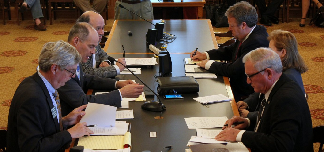 A tax conference committee of House and Senate lawmakers meeting last month. (Photo by Stephen Koranda)