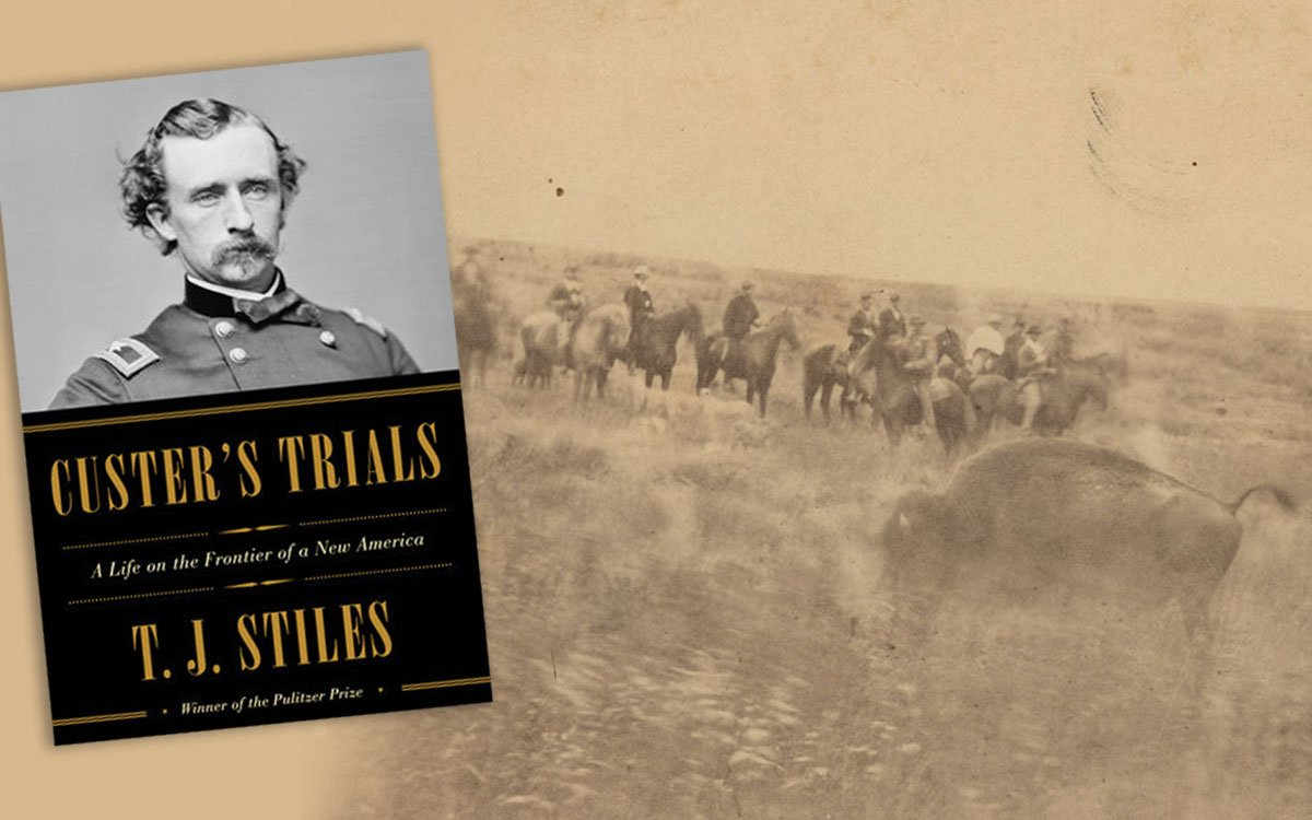 George Armstrong Custer is famous for the Battle of the Little Big Horn, but there's a lot you might not know about him. You can read about Custer's adventures in Kansas in a new book called Custer's Trials. This photograph depicts a buffalo hunt along the Big Timber River, south of Hays, Kansas. Some more well-known members of the hunting party include Custer, Hill P. Wilson, Captain Tom Custer and General Samuel D. Sturgis, 1869. (Photo Courtesy of Kansas Historical Society / kansasmemory.org)
