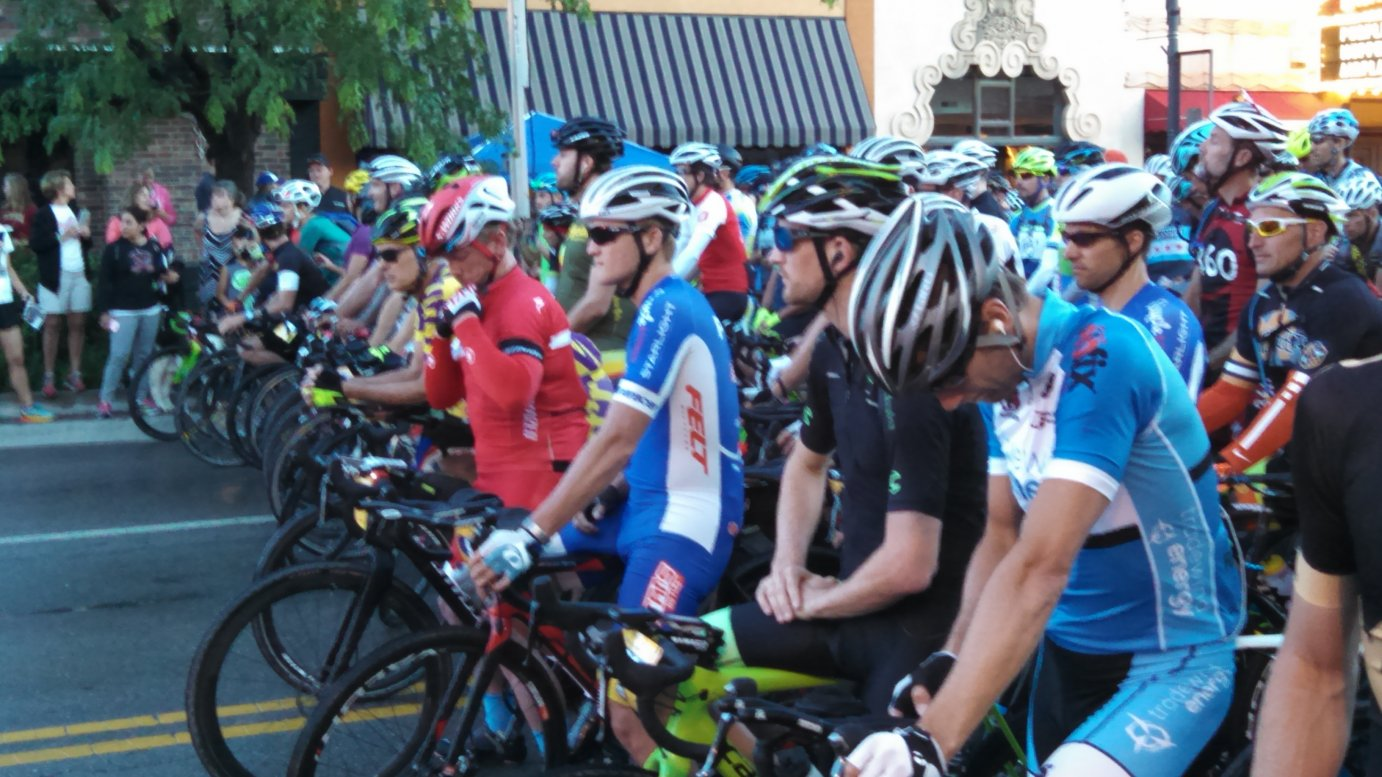 Dirty Kanza riders getting ready to start the race in Emporia.  About 2,000 competed in the event, a grueling race through the Flint Hills. (Photo by Greg Echlin)
