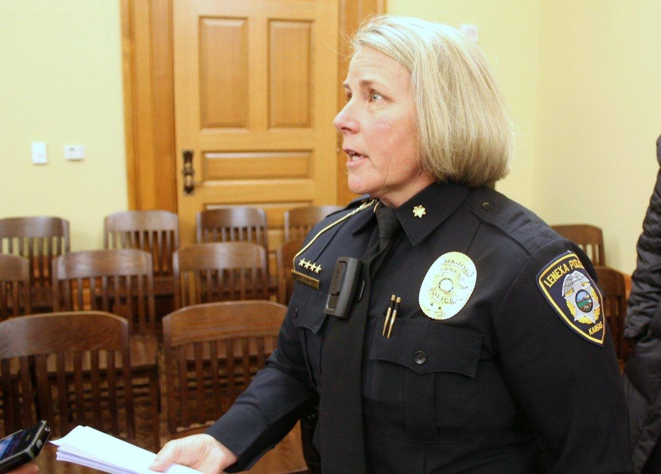 Lenexa Police Major Dawn Layman wearing a body camera while visiting the Statehouse in 2015. (Photo by Stephen Koranda)