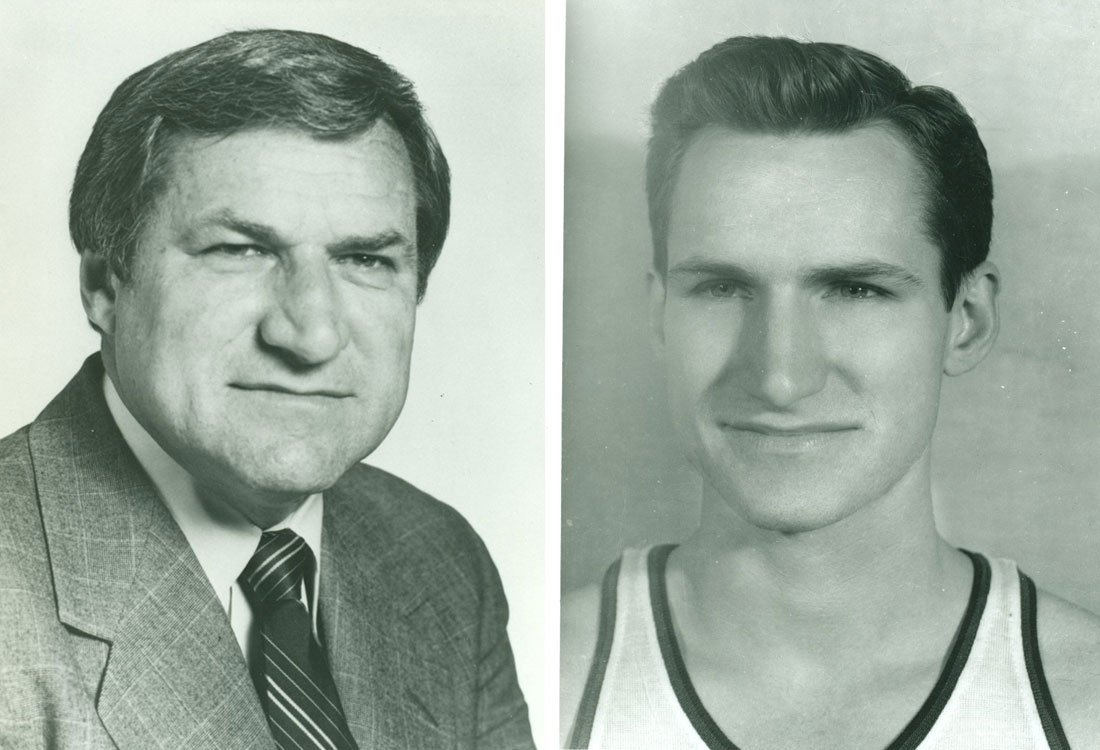 A portrait of Dean Smith (left) from 1984 and Smith as a KU basketball player. He was on the 1949-1953 teams. (Photos via KU University Archives)