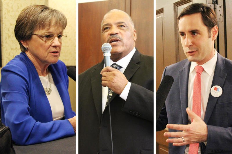 State Senator Laura Kelly, former Wichita Mayor Carl Brewer and former Kansas Agriculture Secretary Josh Svaty are all competing for the Democratic nomination for governor. (Photo by the Kansas News Service)