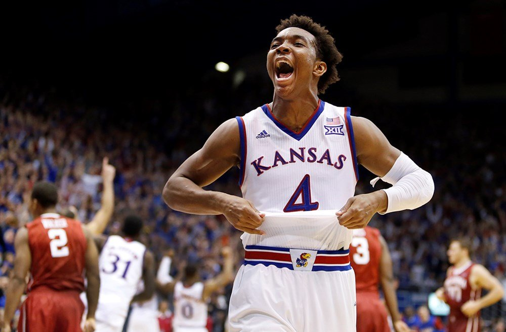 Kansas point guard Devonte' Graham celebrates in Allen Field House (Photo by Kansas Athletics)