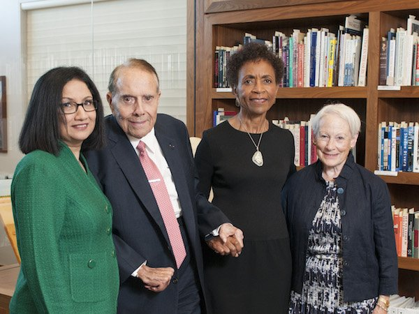 l. to r.: KU Provost Neeli Bendapudi, Senator Bob Dole, KU Chancellor Bernadette Gray-Little, Senator Nancy Kassebaum (photo credit: University of Kansas)