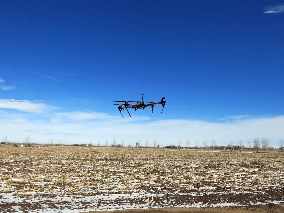 Many farmers hope to use flying drones to scout their fields and identify problem areas, but commercial drone use is currently banned. (Luke Runyon/Harvest Public Media)
