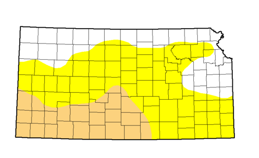 An image from the U.S. Drought Monitor showing dry conditions and drought stretching across much of Kansas.