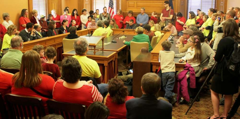 Supporters of the walk gather in the Kansas Statehouse. (Photo by Stephen Koranda)