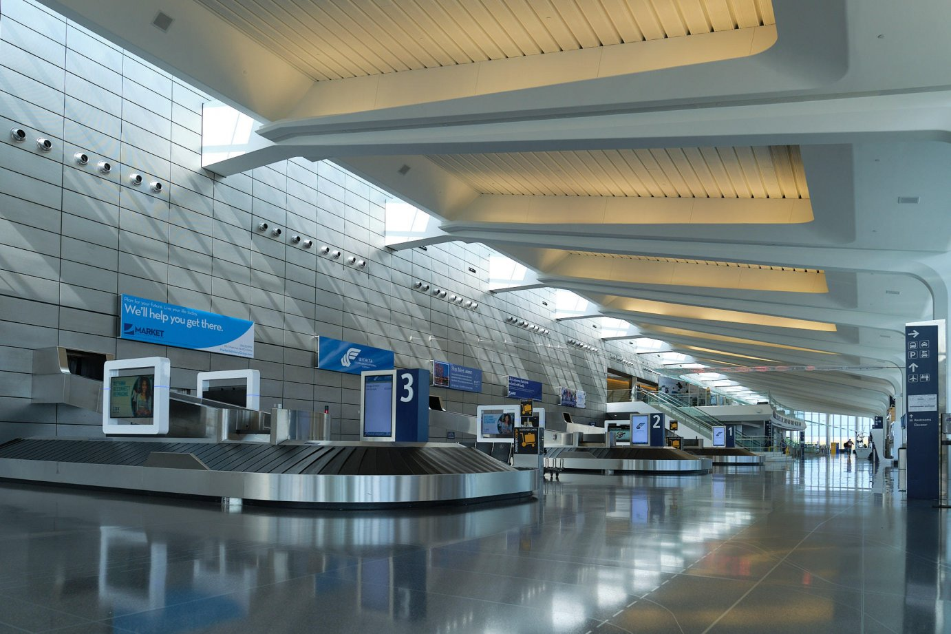 The terminal at Dwight D. Eisenhower Airport in Wichita sits mostly empty as the coronavirus dramatically decreases travel. (Photo by Brian Grimmett, Kansas News Service)