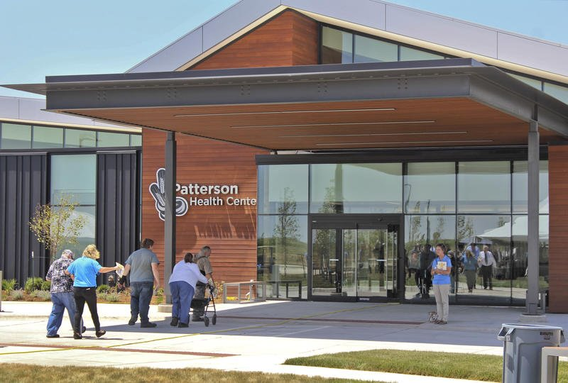 Patients enter the Patterson Health Center, a new facility in Harper County in south-central Kansas. (Photo: Chris Neal, Kansas News Service)