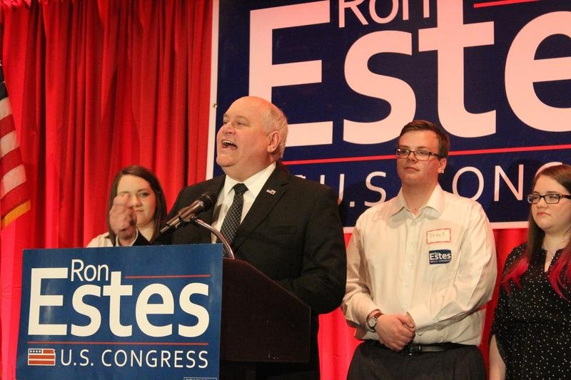 Kansas Treasurer Ron Estes, the Republican candidate, gives his victory speech Tuesday night in Wichita.