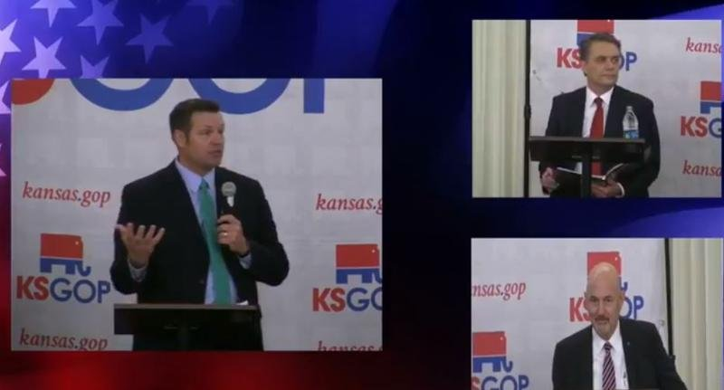 Kansas Secretary of State Kris Kobach, left, faced off in a Republican governor candidate's forum with Governor Jeff Colyer, above, and Ken Selzer, the state insurance commissioner.  (Screengrab / Kansas Republican Party Facebook page)