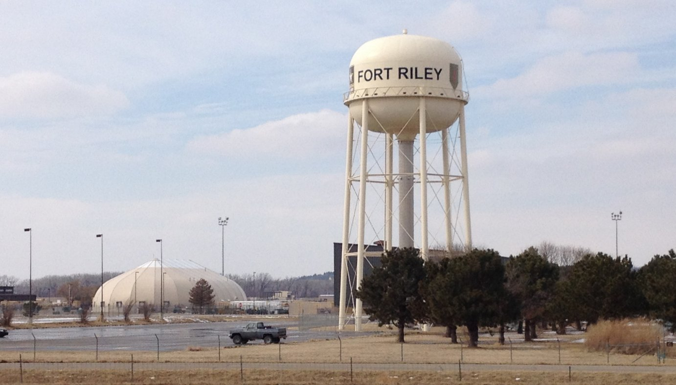 A water tower on the southern edge of Fort Riley, near Junction City.  (Photo by J. Schafer)