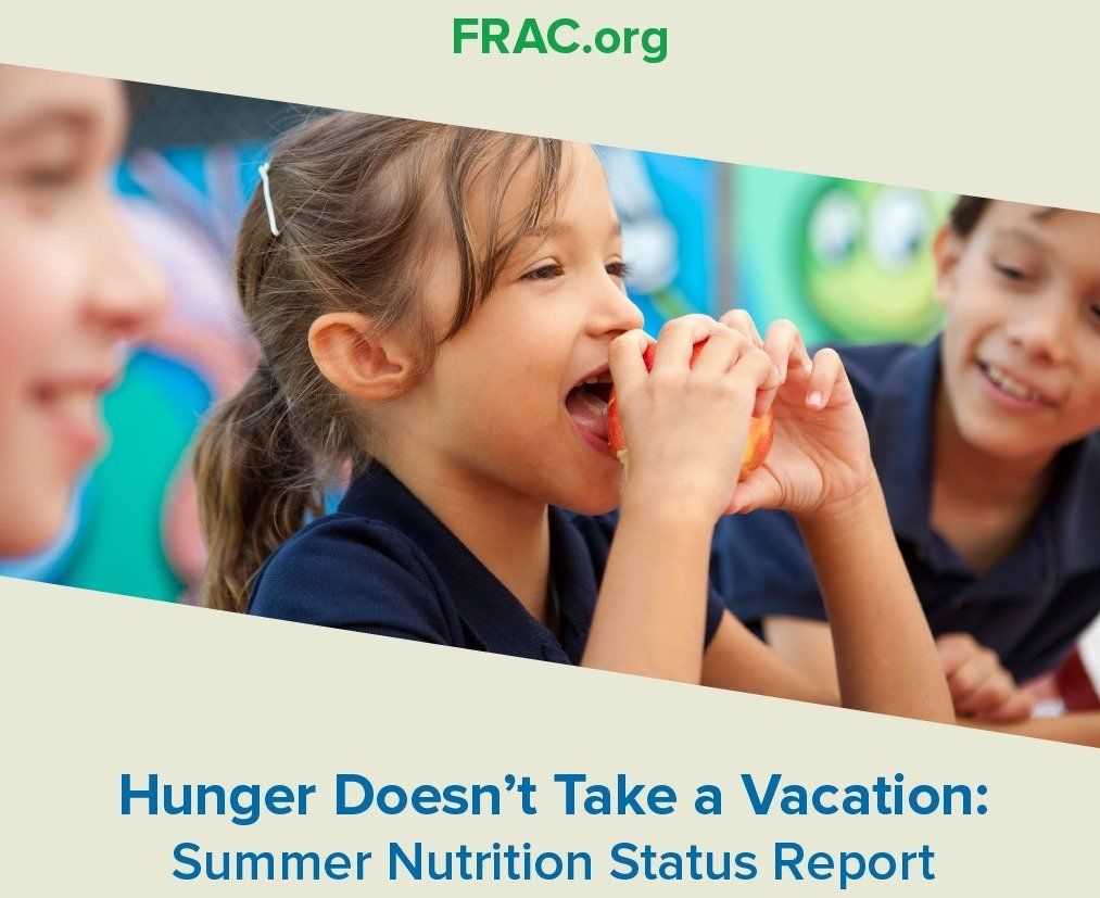 "Screenshot of the new report, ""Hunger Doesn't Take a Vacation"", by the Food Research and Action Center"