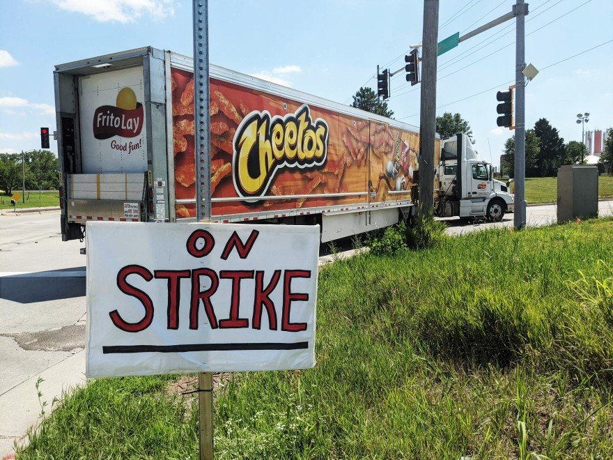 Hundreds of workers at the Frito-Lay facility in Topeka are on strike after rejecting a two-year contract from the company. Workers want higher wages and less mandatory overtime. (Photo by Abigail Censky, Kansas News Service)