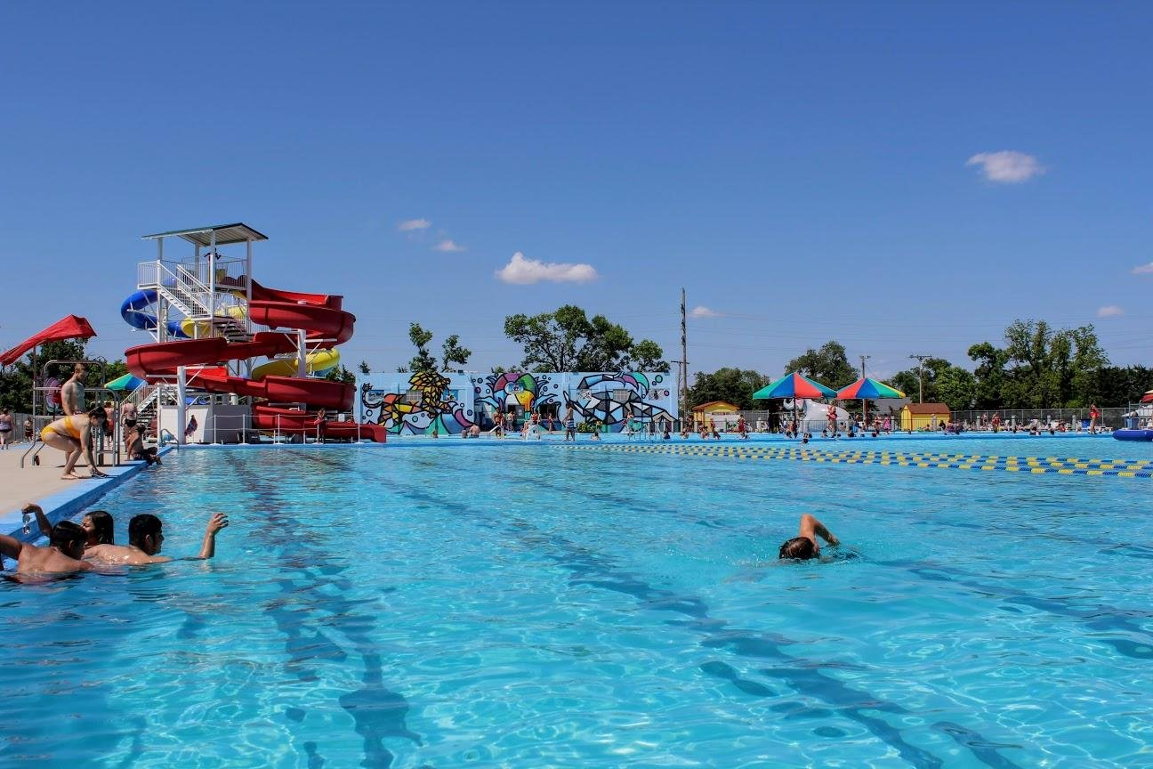 Garden City's Big Pool, nearly a century old, loses 200,000 gallons of water a day through leaks. (Photo by Corinne Boyer / HPPR and Kansas News Service)