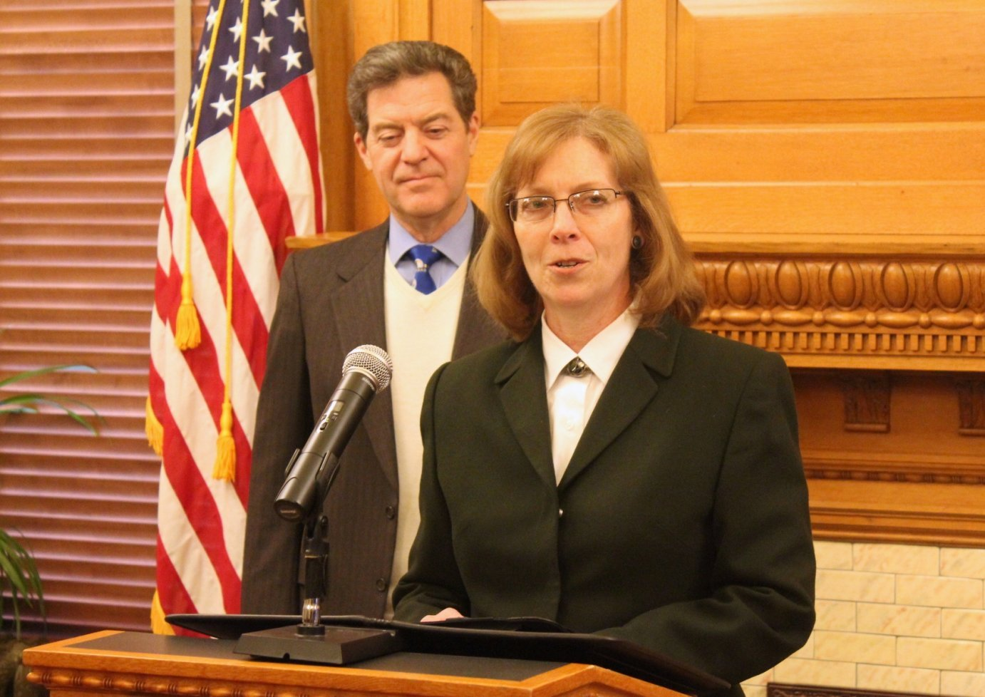 Kathryn Gardner speaking after Governor Brownback announced her nomination in January. (Photo by Stephen Koranda)
